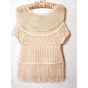 Bebe boho knit and fringe swing  top